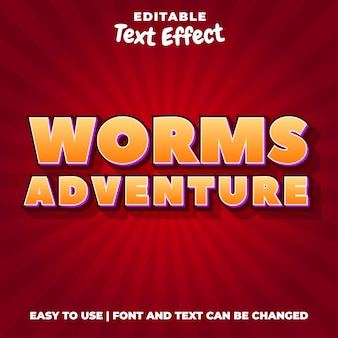 Worm adventures game title estilo texto efeito editável