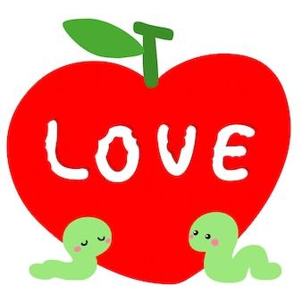 Worm apaixonado pelo vetor de maçã vermelha