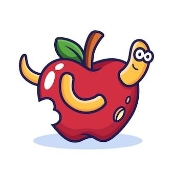 Worm com apple cartoon. ilustração do ícone de comida, isolada