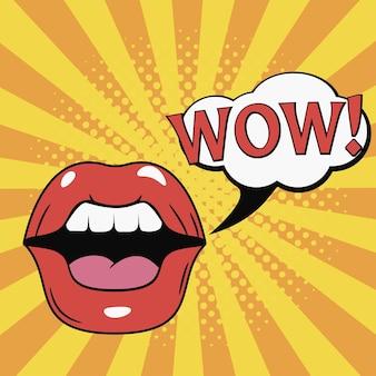 Wow boca lábios femininos com balão de fala ilustração de quadrinhos em estilo pop art retro