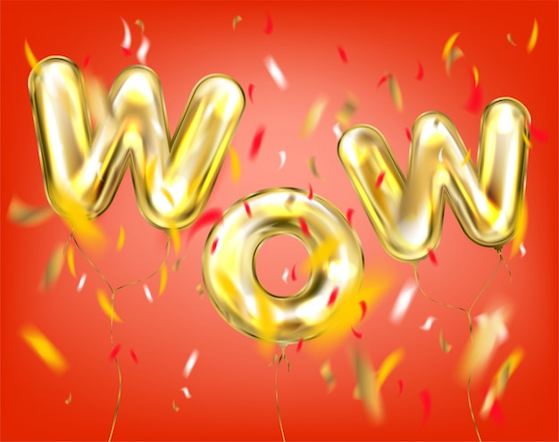 Wow lettering by foil golden balloons in red