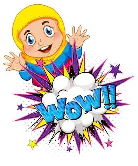 Wow palavra sobre explosão de bomba com personagem de desenho animado de menina muçulmana isolada
