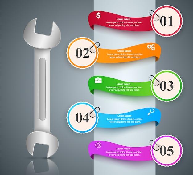 Wrench, screwdriver, repair icon infográfico de negócios