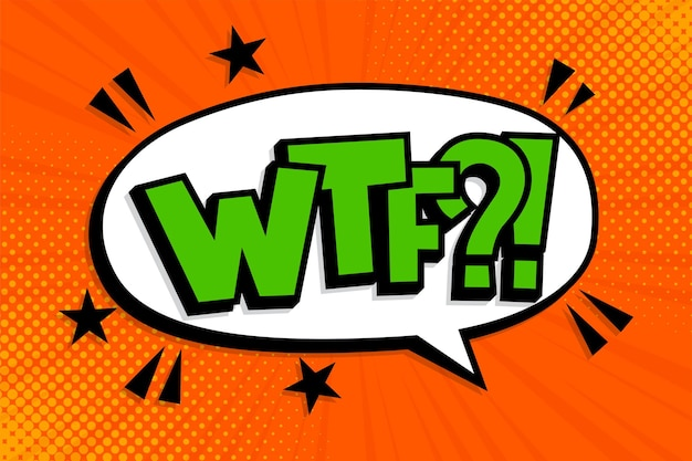 Wtf?!. bolha do discurso do texto de quadrinhos pop art. letras oops