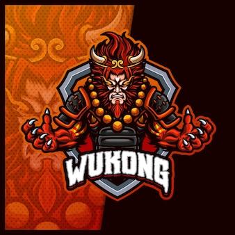 Wukong monkey king template de ilustrações de design de logotipo mascote esport, logotipo devil ninja para flâmula de jogo de equipe banner youtuber contração contração discordância, estilo cartoon em cores