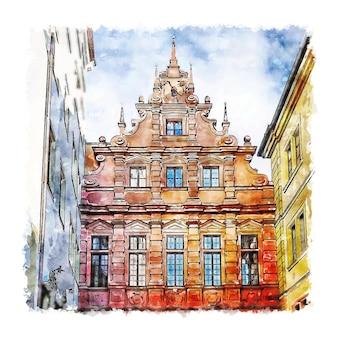 Wurzburg alemanha ilustração de desenho em aquarela de mão desenhada
