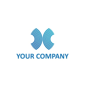 X letra listra ou ondas em modelo de logotipo de cor azul