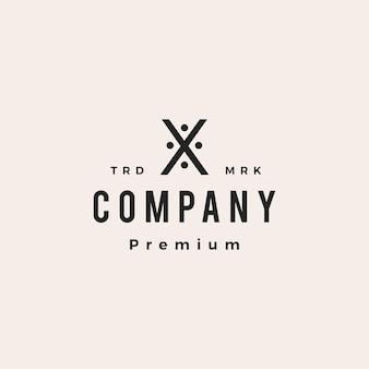 X letra pessoas equipe família hipster logotipo vintage ícone ilustração em vetor
