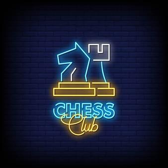 Xadrez clube sinais néon estilo texto