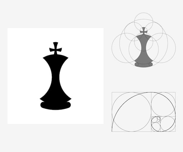 Xadrez de vetor no estilo de proporção áurea. ilustração editável