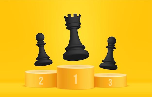 Xadrez no pódio dos vencedores líder de negócios conceito liderança de estratégia e gestão de negócios