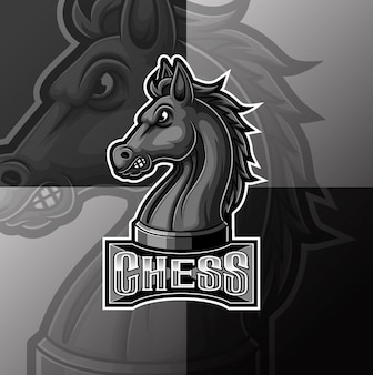 Xadrez preto cavaleiro cavalo mascote e esporte design de logotipo