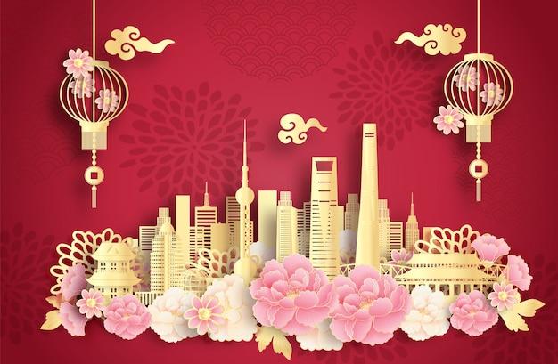 Xangai, na china, com pontos de referência mundialmente famosos e uma bela lanterna chinesa em estilo recortado