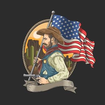 Xerife com uma bandeira americana
