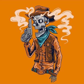 Xerife de cowboy de caveira