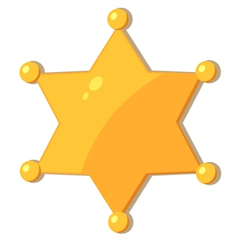 Xerife de estrela de ouro dos desenhos animados