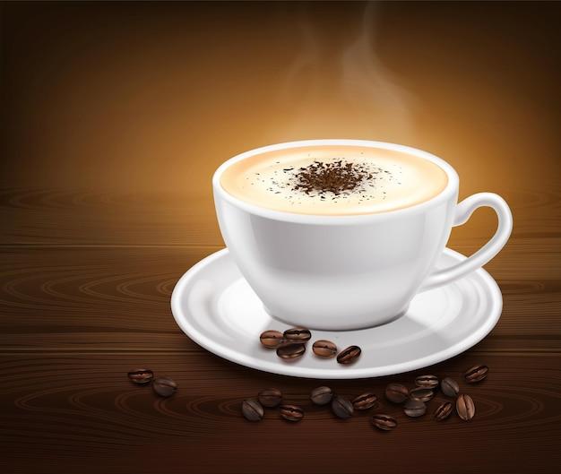 Xícara branca de café quente com canela no pires e feijão na mesa de madeira realista