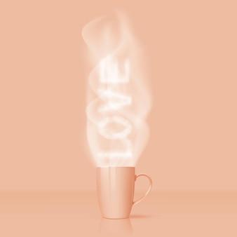 Xícara com chá quente. a palavra amor do vapor. design de publicidade.