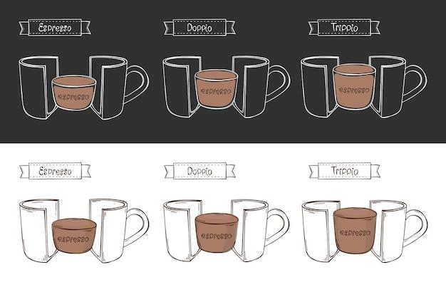 Xícara de 3 tipos de café expresso. infográfico