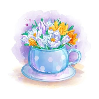 Xícara de aquarela delicada com um buquê de açafrão de primavera.