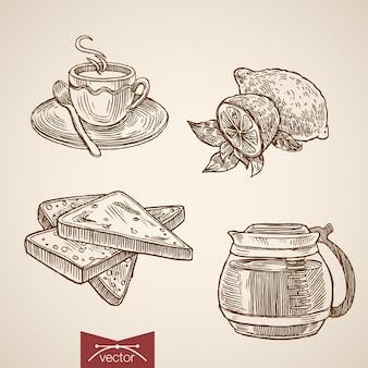 Xícara de bebida quente e torradas de gravura de mão vintage desenhada.