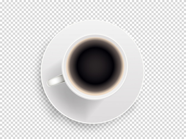 Xícara de café branca isolada em transparente