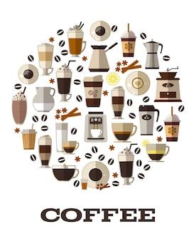 Xícara de café, café e cappuccino, expresso quente