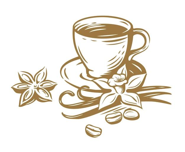Xícara de café com baunilha e feijão.
