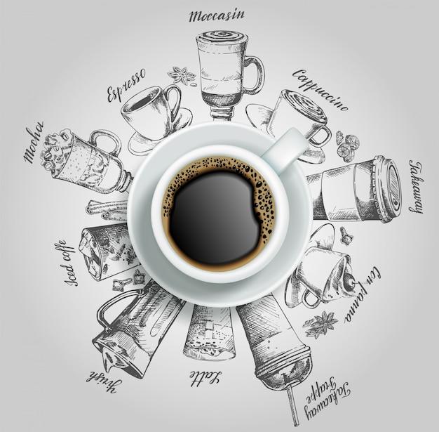 Xícara de café com café bebe ilustração criativa