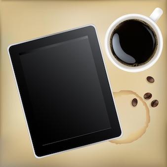 Xícara de café com computador tablet, ilustração
