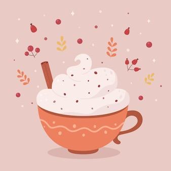 Xícara de café com creme e pau de canela bebida quente de outono olá outono