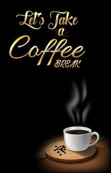 Xícara de café com grãos de café na mesa de madeira