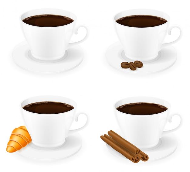 Xícara de café com grãos de canela, grão e feijão vista lateral ilustração vetorial