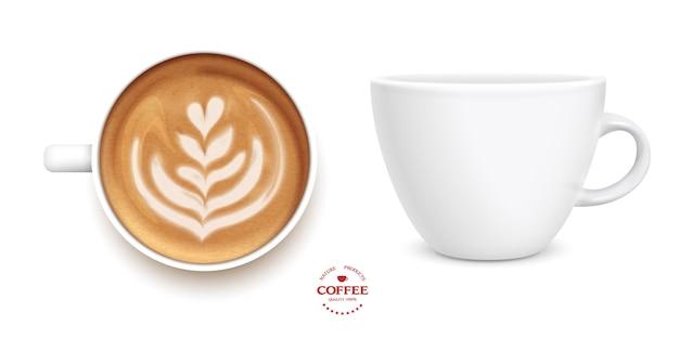 Xícara de café com leite tulipa branca, conjunto, estilo 3d realista. vista superior e lateral.