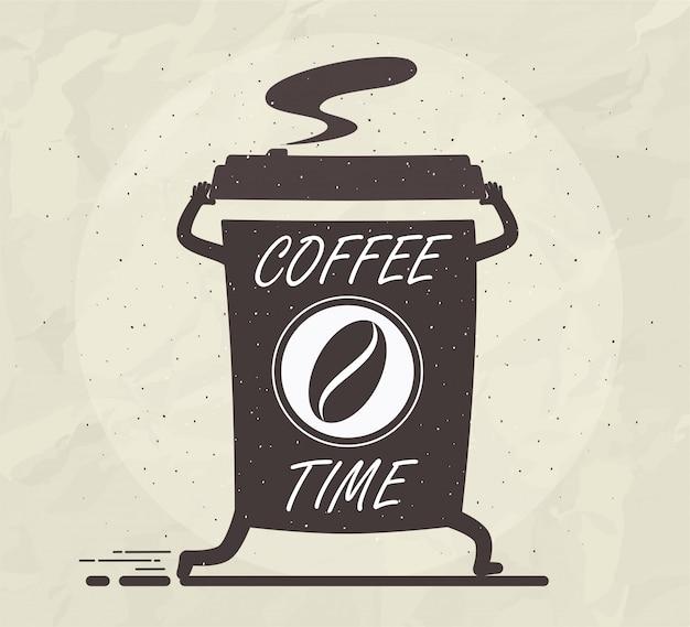 Xícara de café com letras.