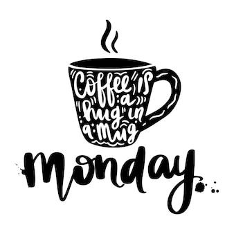 Xícara de café com letras