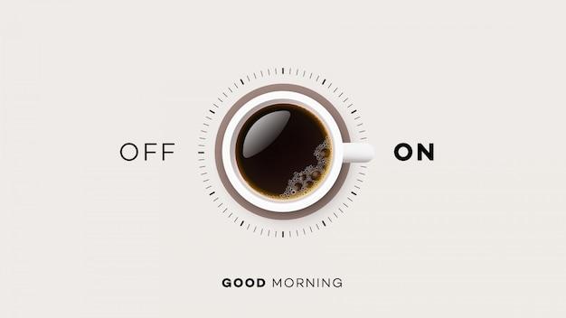 Xícara de café com ligado e desligado