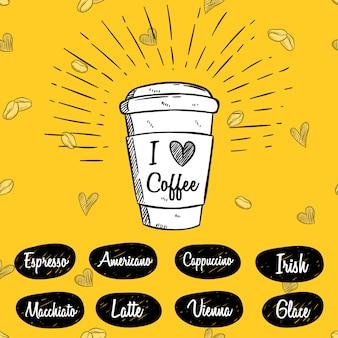 Xícara de café com mão desenhada ou desenho estilo