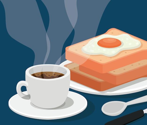 Xícara de café com ovo no pão e design de talheres de bebida cafeína tema de café da manhã e bebidas.