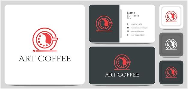 Xícara de café com pincel de paleta logo design linha abstrata vetor