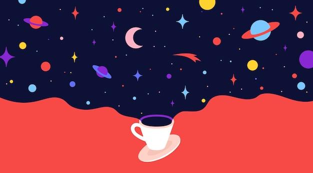 Xícara de café com sonhos do universo