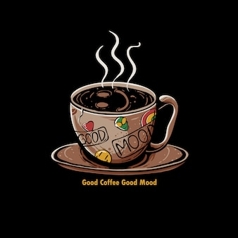 Xícara de café com sorriso emoji ilustração