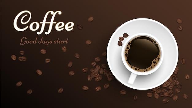 Xícara de café com vista superior. modelo de banner realista de xícara e grãos de café. fundo de grãos torrados de vetor. xícara de café expresso com cafeína, ilustração de bebida quente com café