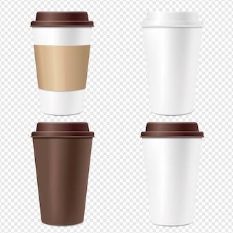 Xícara de café conjunto fundo transparente