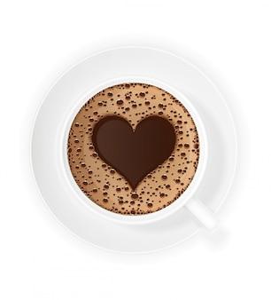 Xícara de café crema e coração símbolo