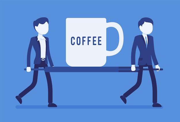 Xícara de café de emergência na maca