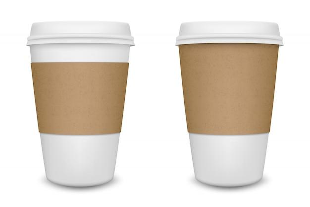 Xícara de café de papel em branco realista em fundo branco. modelo.