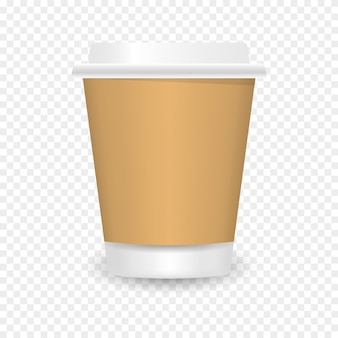 Xícara de café de papel em branco realista