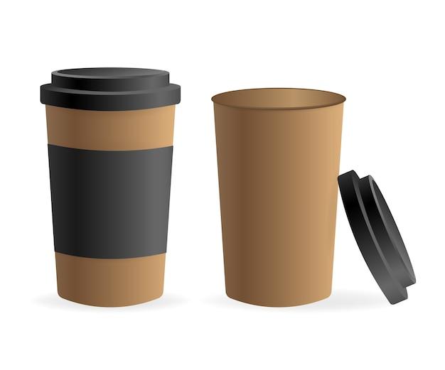 Xícara de café de papel em fundo branco. em branco. , modelo. bebida de café.