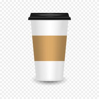 Xícara de café de papel realista com reflexão. maquete de copo de café vazio em fundo transparente